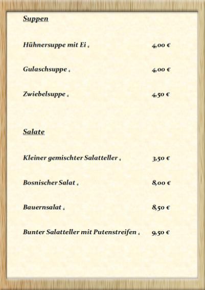 Speisenkarte Krone Post Mauer